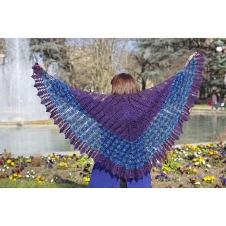 Oiseau bleu - châle crochet