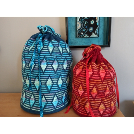 Rhombique - sacs en crochet mosaïque